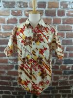 Pineapple Connection Men's S/S Hawaiian Camp Shirt Floral Btn Front Size XL