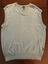 Hugo Boss Golf Sweater Vest Cotton Xxl Light Blue Made In Italy