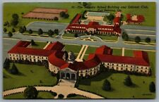 Postcard Fort Benning GA c1946 Infantry School & Officers Club Aerial View Linen