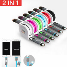 2 In1 Dual Retractable USB Lightning Data Cable Charger For Android iPhone KOYOT