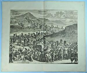 ANTIQUE ENGRAVING MECCA KAABA SAUDI ARABIA ISLAM HAJJ MAHMAL CARAVAN 1676