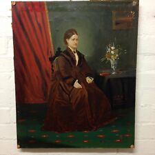 Antique Victorian Portrait Of A Lady Oil On Canvas In Need Of Restoration