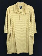 Footjoy FJ Yellow Blue Stripes Polyester Spandex Golf Polo Shirt Mens Size XL