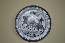 CHARIOT SCENE DECORATIVE HANDPAINTED, RED CLAY WALL PLATE !!GREECE!!