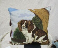 Vintage Needlepoint Wool Pillow King Charles Spaniels  English