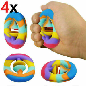 4x Snappers Squeeze Snap Fidget Toys Sensory Tool Autism Hand Toy Strength Grip