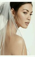 David's Bridal 1-Tier Rhinestone Edge Veil, V390L, IVORY ($189.95)