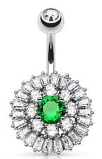 Princess Cut Cz Triple Tier Cluster Vinta Belly Button Ring Navel Cz Center with