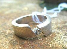 schwerer breiter bandring silber 925 mit brillant simili 7,5g 17 mm v juwelier