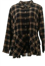 Joan Rivers Plaid Peplum Shirt Fringe Hem Cocoa Black 20W NEW A344332