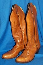 Womens Size 5 ½ B Justin Brown Western Cowgirl Boots Tall Tan Leather Cowboy 5.5