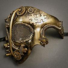 Phantom of Opera Steampunk Masquerade Half Face Mask - Gold