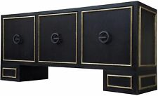 "72"" L Console Table Solid Walnut Dark Stain Gold Leaf Inlaid Trim Doors"
