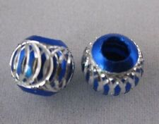 30 Blue Silver Carved Lantern Aluminium Beads E572
