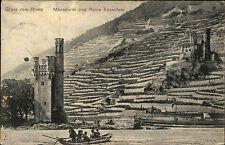 Bingen am Rhein alte Postkarte 1908 Stempel Niederwald Denkmal Mäuseturm Turm