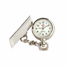 Women Men Clip-on Brooch Pendant Necklace Nurse Doctor Quartz Pocket Watch Gift