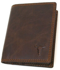 New Brown Leather Credit Card Mini Wallet Bulls Embossed Mark Purse