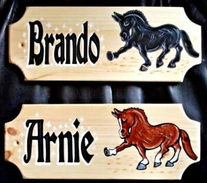HORSE PLAQUE Stable Door name Sign Plate Personalised Hand Painted Cartoon GIFT!