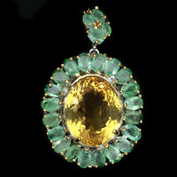 Handmade Natural 29 ct Oval Citrine Emerald 925 Sterling Silver Pendant Brooch