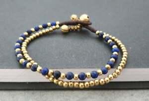Round Lapis  Bead, Brass Chain Bracelet Anklet,Beaded Bracelet