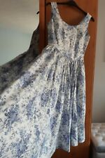 Laura Ashley Vintage Cotton China Blue Floral Full Circle Dress Size 16