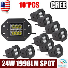 10x 24W 5inch LED Pods Work Light Spot Flush Mount Offroad Truck Jeep Square Hot
