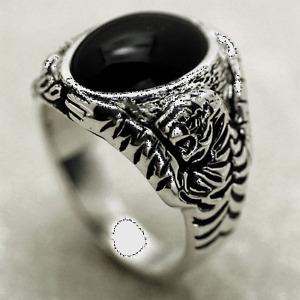 Kenpo Dragon Tiger Onyx Ring, Sterling Silver