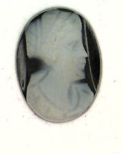 Antique Vintage Oval Black & White Cameo Stone 12 mm x 9.5 mm  #N472