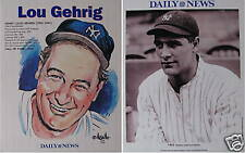 NY Yankees 1923 Lou Gehrig Vintage Photo & Caricature