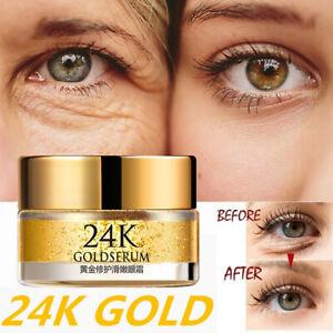 24K Gold Serum Anti Aging Wrinkle Eye Cream Remove Dark Circles Skin Care 20g
