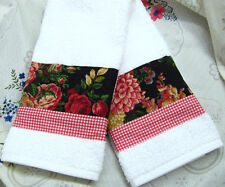 RALPH LAUREN Decorator Fabric /2 Custom Hand Towels DECORATED Red and Black