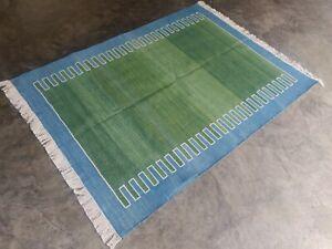 Cotton Flat Weave Rag Rugs Handwoven 4'x6' Green Blue Striped Yoga Rug Dhurrie