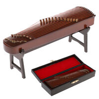 Wooden 1/6 Chinese Guzheng Model Action Figure Dollhouse Plucked Instrument