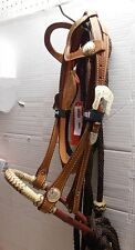 Showman Leather 2 Ear Show Bridle Rawhide Bosal BROWN Nylon Mecate Reins Popper
