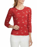 Vince Camuto Womens Desert Bouquet Ruched Sleeve Top X-Large Coral Sunset XL