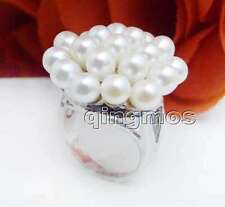 New Fashion Women Jewelry Gift 25mm Rice White Natural Pearl Flower #9 Ring-ri26