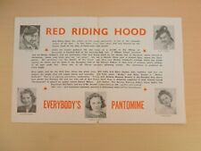 Harry Gordon Will Fyffe Red Riding Hood Glasgow Alhambra Pantomime Flyer 1940's