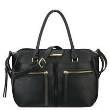 Nine West 9513 Womens Just Zip It Black Lined Satchel Handbag Purse Medium BHFO