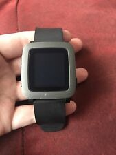 Pebble Time 9.5mm Black Stainless Steel Case Jet Black Classic Buckle...