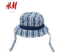 Boys kids Baby Child Beach Travel Cotton Check Bucket Sun Hat Cap with strap 0-1