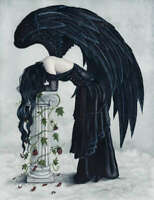 Fantasy Art PRINT Angel Despair Gothic Black Wings Column Clouds Depression Sad