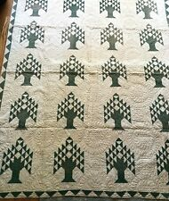 Antique Hand Pieced Expertly Hand Quilted Unused Green Tree Full Quilt