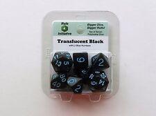 Role4Initiative 7 Polyhedral Dice Set Translucent Black w/ Lt Blue 501057B