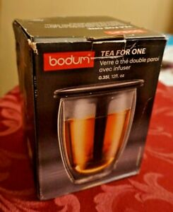 BODUM Tea for One Cup Infuser with Double Wall Glass Black New in box