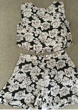 Hearts And Bows Asos Co Ord Crop Top And Shorts Black White Grey Set Size 12/14