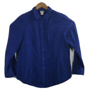 Chicos Women's Size 2 Button Up Long Sleeve Blue  Shirt Embroidered