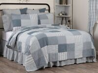 Blue King Ticking Stripe Quilt Farmhouse Bedding Sawyer Mill Hand Quilted Cotton
