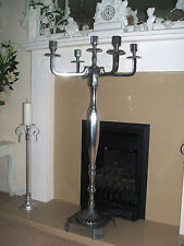 RRP £140 SHABBY CHIC ORNATE SILVER 105 CM TALL 5 ARM CANDELABRA CANDLE HOLDER