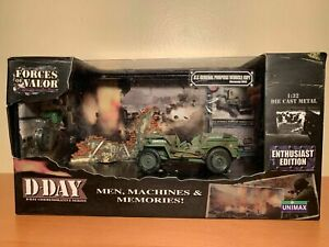 1/32  FORCES OF VALOR  US JEEO D DAY    82303  WWII  ORIGIN BOX NO OPENED UNIMAX