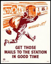 More details for 1960's gpo small poster i.r.p.(h)47 - get those mails to the station…..